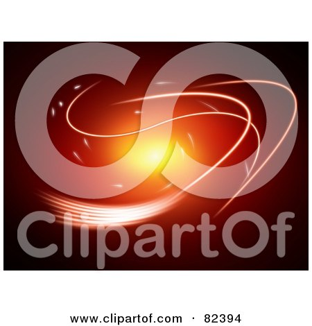 Royalty-Free (RF) Clipart Illustration of Swooshy Bright Lines Around A Red And Orange Glowing Background by oboy