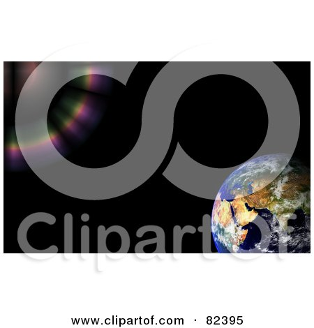 Royalty-Free (RF) Clipart Illustration of a Colorful Flare Of Light Bursting Towards Earth On Black by oboy