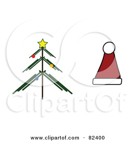 Royalty-Free (RF) Clipart Illustration of a Digital Collage Of A Christmas Tree And Santa Hat by JR