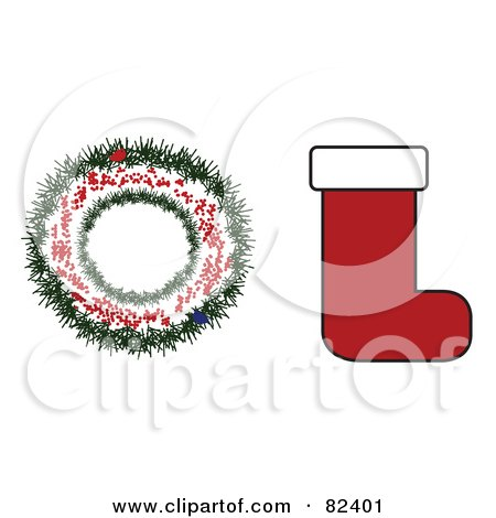 Royalty-Free (RF) Clipart Illustration of a Digital Collage Of A Wreath And Christmas Stocking by JR