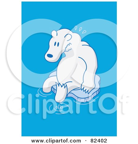 Royalty-Free (RF) Clipart Illustration of a Sad Cartoon Polar Bear Sitting On A Small Melting Sheet Of Ice In Blue Water by Zooco