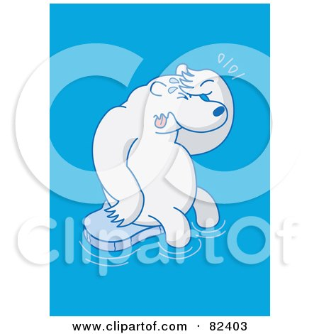 Royalty-Free (RF) Clipart Illustration of a Sad Cartoon Polar Bear Crying On A Small Sheet Of Ice In Blue Water by Zooco