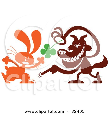 Royalty Free RF Clipart Illustration Of A Cartoon Wolf Taking A Four Leaf Clover From A Bunny