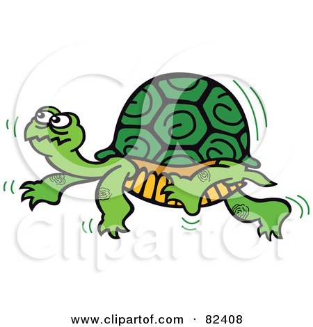 Royalty-Free (RF) Clipart Illustration of a Cartoon Turtle Walking Slowly By by Zooco