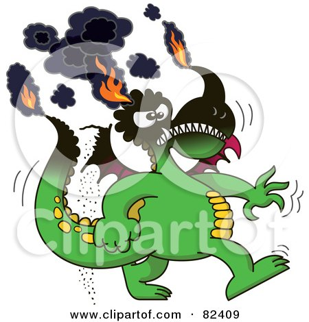 Royalty-Free (RF) Clipart Illustration of a Cartoon Burning Green Dragon With His Tips On Fire by Zooco