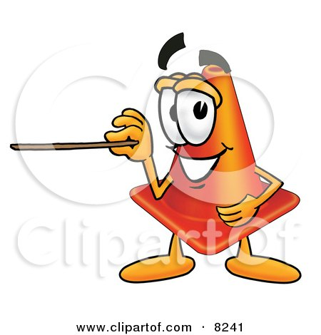 Clipart Picture of a Traffic Cone Mascot Cartoon Character Holding a Pointer Stick by Toons4Biz