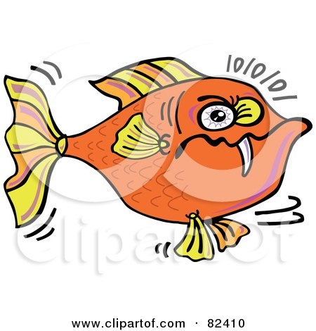 Royalty-Free (RF) Clipart Illustration of a Cartoon Angry Orange Fish With One Sharp Tooth by Zooco