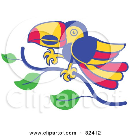 Royalty-Free (RF) Clipart Illustration of a Cartoon Toucan Bird Walking On A Tree Branch by Zooco