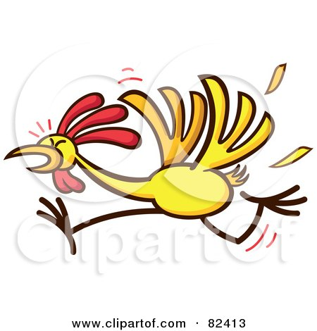 Royalty-Free (RF) Clipart Illustration of a Cartoon Chicken Running And Losing Feathers by Zooco