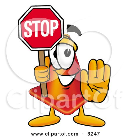 Clipart Picture of a Traffic Cone Mascot Cartoon Character Holding a Stop Sign by Toons4Biz