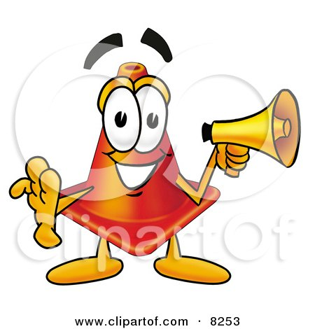Traffic Cone Cartoon Clipart Picture of a Traffic Cone Mascot Cartoon Character Holding a ...