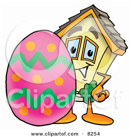 Clipart Picture of a House Mascot Cartoon Character Standing Beside an Easter Egg by Toons4Biz