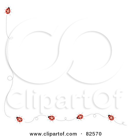 Royalty-Free (RF) Clipart Illustration of a Left And Bottom Ladybug Border On A White Background by Pams Clipart