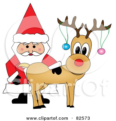 Royalty-Free (RF) Clipart Illustration of Santa Standing And Petting Rudolph, Baubles On His Antlers by Pams Clipart