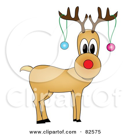 Royalty-Free (RF) Clipart Illustration of Rudolph The Reindeer With Two Baubles Hanging From His Antlers by Pams Clipart