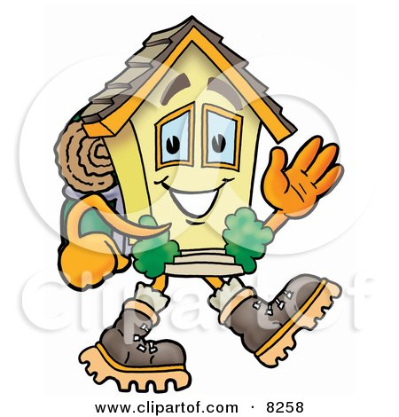 House Mascot Cartoon Character Hiking and Carrying a Backpack Posters, Art Prints