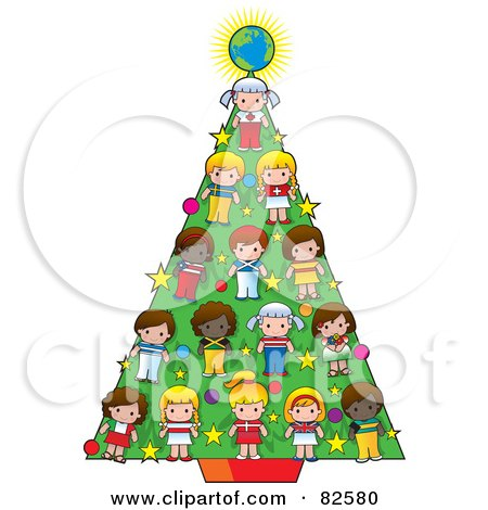 Cultural Children And A Globe Decrating A Christmas Tree, Posters, Art Prints