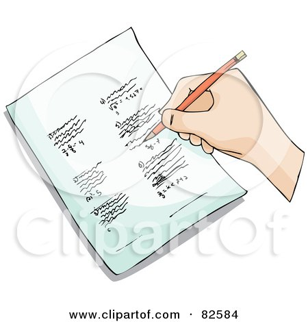 Royalty-Free (RF) Clipart Illustration of a Student's Hand Writing Homework With A Pencil by Bad Apples