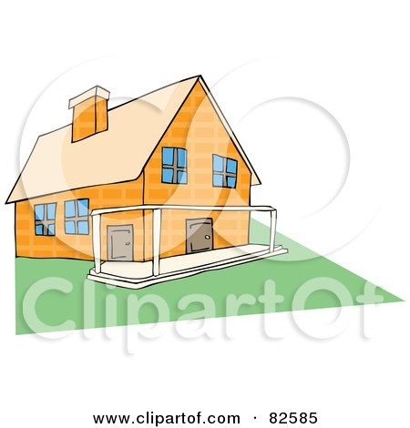 Royalty-Free (RF) Clipart Illustration of a Yellow Stone House With A Patio And Green Lawn by Bad Apples