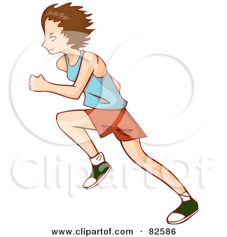 Royalty-Free (RF) Clipart Illustration of a Profile Of A Running Boy In A Blue Shirt, Orange Shorts And Green Shoes by Bad Apples