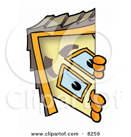 Clipart Picture of a House Mascot Cartoon Character Peeking Around a Corner by Toons4Biz