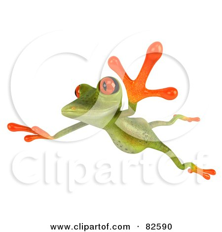 Royalty-Free (RF) Clipart Illustration of a 3d Springer Frog Leaping To The Left by Julos