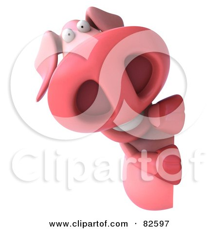 Royalty-Free (RF) Clipart Illustration of a 3d Pookie Pig Character Looking Around A Blank Sign by Julos