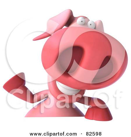 Royalty-Free (RF) Clipart Illustration of a 3d Pookie Pig Character Waving And Holding A Blank Sign by Julos