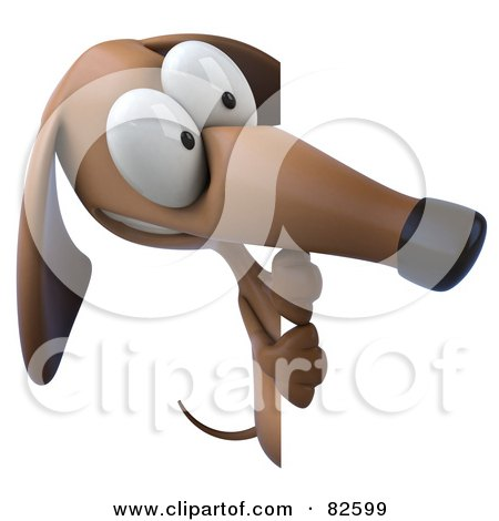 Royalty-Free (RF) Clipart Illustration of a 3d Brown Pookie Wiener Dog Character Standing And Looking At A Blank Sign by Julos