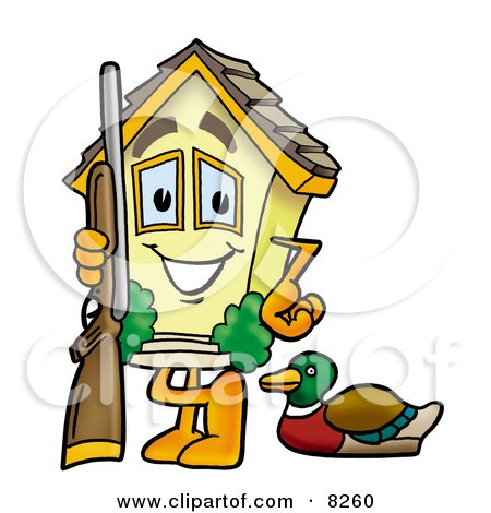 Clipart Picture of a House Mascot Cartoon Character Duck Hunting, Standing With a Rifle and Duck by Toons4Biz