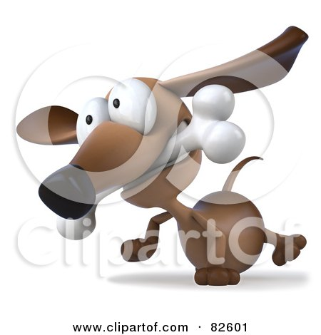 3d Brown Pookie Wiener Dog Character Walking With A Bone In His Mouth Posters, Art Prints