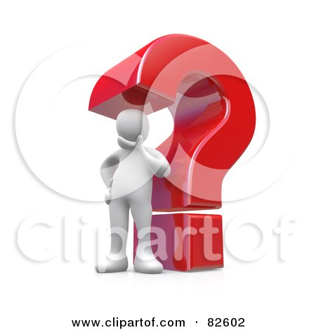 Royalty-Free (RF) Clipart Illustration of a 3d White Person Contemplating In Front Of A Giant Red Question Mark by 3poD
