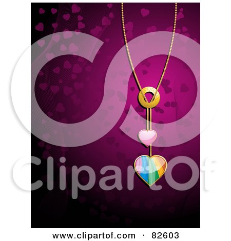 Royalty-Free (RF) Clipart Illustration of a Shiny Rainbow Heart Pendant Necklace Over A Purple Background by elaineitalia