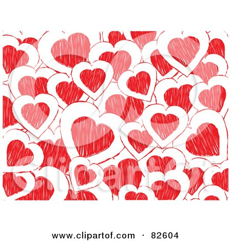 Royalty-Free (RF) Clipart Illustration of a Background Of White And Red Doodled Hearts by elaineitalia