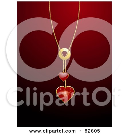 Royalty-Free (RF) Clipart Illustration of a Shiny Red Heart Pendant Necklace Over A Red Background by elaineitalia