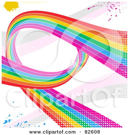 Royalty-Free (RF) Clipart Illustration of a Grungy Rainbow Swoosh Background With Splatters And Halftone On White by elaineitalia