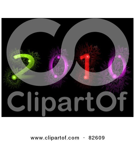 Royalty-Free (RF) Clipart Illustration of a Colorful 2010 Made Of Fireworks On Black by elaineitalia
