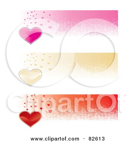 Royalty-Free (RF) Clipart Illustration of a Digital Collage Of Three Pink, Gold And Red Heart Website Banners by MilsiArt