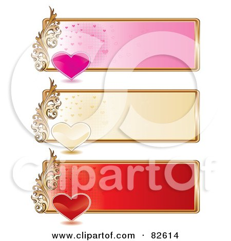 Royalty-Free (RF) Clipart Illustration of a Digital Collage Of Three Pink, Golden And Red Heart Website Banners With Gold Rims by MilsiArt
