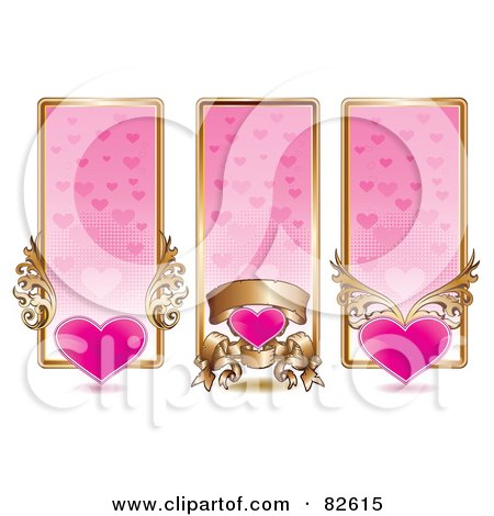 Royalty-Free (RF) Clipart Illustration of a Digital Collage Of Three Vertical Pink And Gold Heart Website Banners by MilsiArt