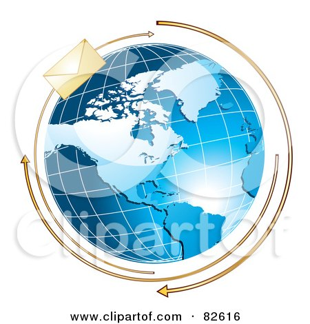 Royalty-Free (RF) Clipart Illustration of Arrows And A Golden Envelope Circling A Blue Globe by MilsiArt