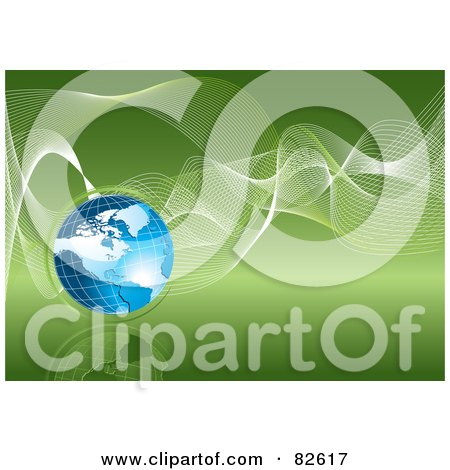 Royalty-Free (RF) Clipart Illustration of a Blue Grid Globe With White Wire Waves On A Green Reflective Eco Background by MilsiArt