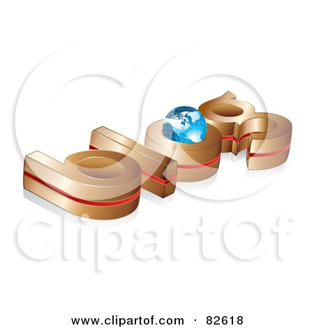 Royalty-Free (RF) Clip Art Illustration of a 3d Gold And Red Blog Word With A Blue Globe In The O by MilsiArt