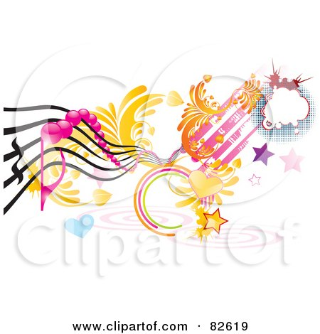 Royalty-Free (RF) Clipart Illustration of a Rungy Funky Music Design Of Hearts, Stars, Spirals by MilsiArt