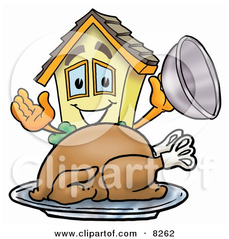 Clipart Picture of a House Mascot Cartoon Character Serving a Thanksgiving Turkey on a Platter by Toons4Biz