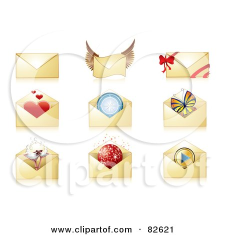 Royalty-Free (RF) Clipart Illustration of a Digital Collage Of Nine Golden Envelopes With Hearts, Wings, Bows, Compasses, Champagne, Disco Balls And Play Buttons by MilsiArt