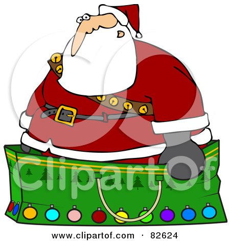 Royalty-Free (RF) Clipart Illustration of Santa Wearing A Stash Of Jingle Bells And Standing In A Giant Green Christmas Gift Bag by djart