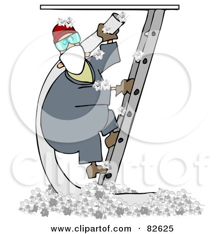 Royalty-Free (RF) Clipart Illustration of a Worker Man Climbing A Ladder And Holding An Insulation Hose, Insulation On The Floor Below by djart