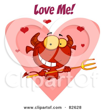 Royalty-Free (RF) Clipart Illustration of Love Me Text Over A Devil Guy Holding A Pitchfork In Front Of A Heart by Hit Toon