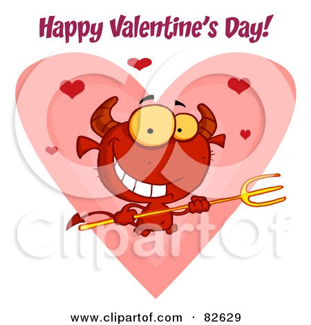 Royalty-Free (RF) Clipart Illustration of Happy Valentine's Day Text Over A Devil Guy Holding A Pitchfork In Front Of A Heart by Hit Toon
